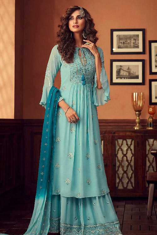 Sassy Sharara Suit with Georgette Foil Work