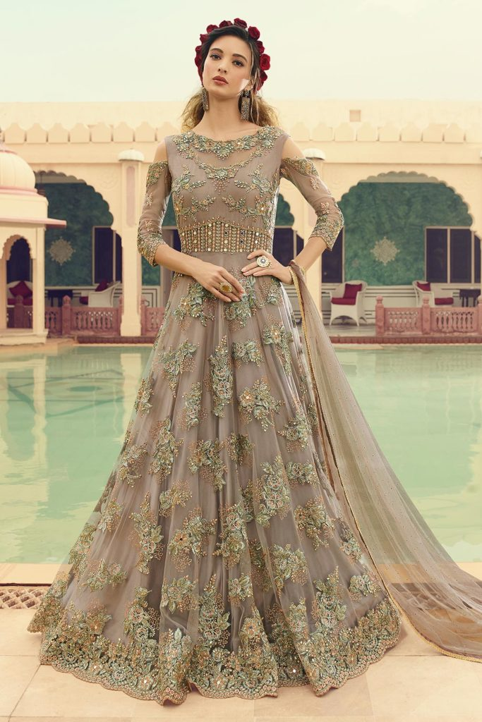 Embellished Net Anarkali Suit